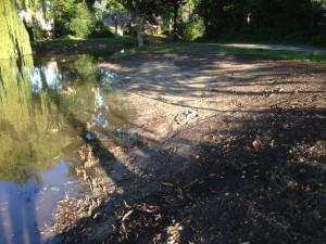 Vrijgekomen grond wordt hergebruikt in onderwater taluds.